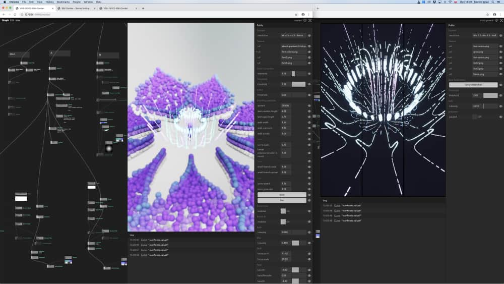 Copy pasting between graphs: particle flower on the right moved to new 3d scene on the left